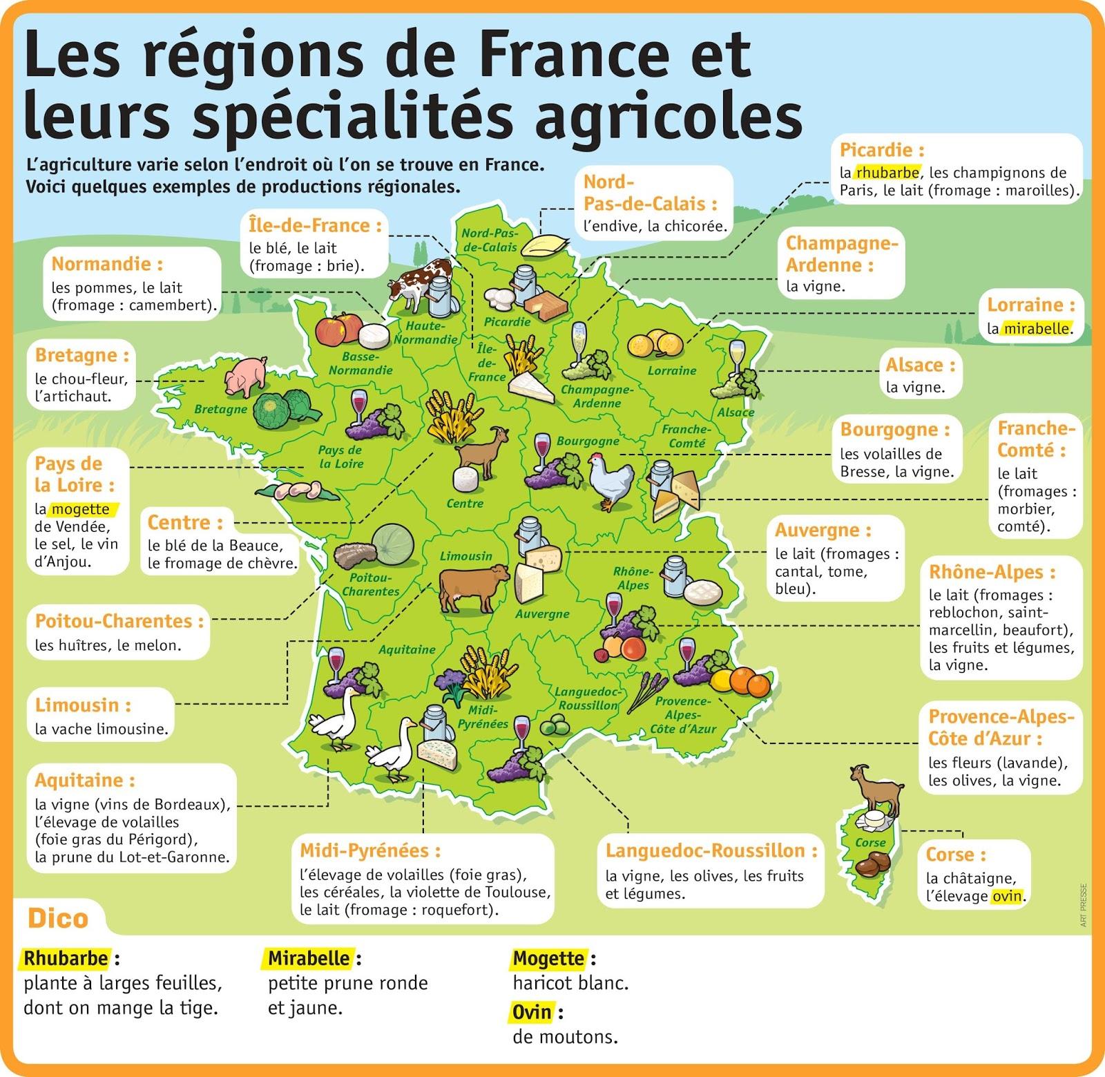 Autour de la gastronomie carte r gions fran aises et - Cuisine francaise par region ...