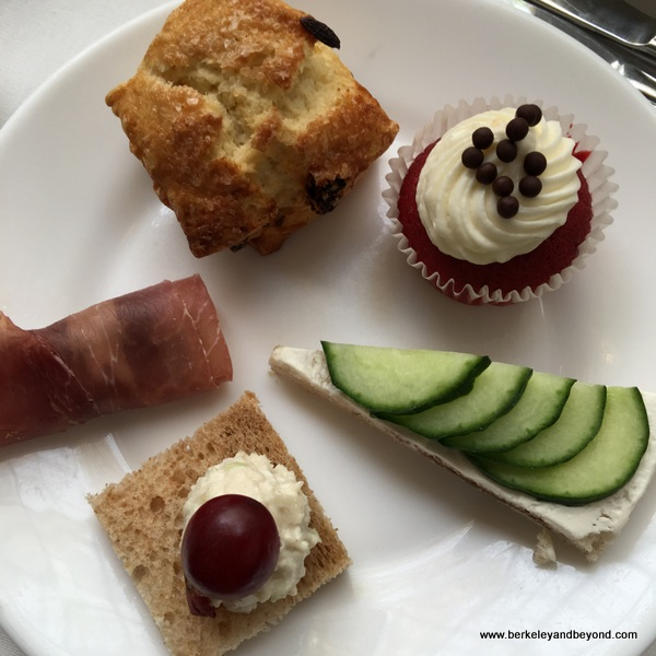 plate of tea-time treats at The Rotunda tea room at Neiman Marcus in San Francisco