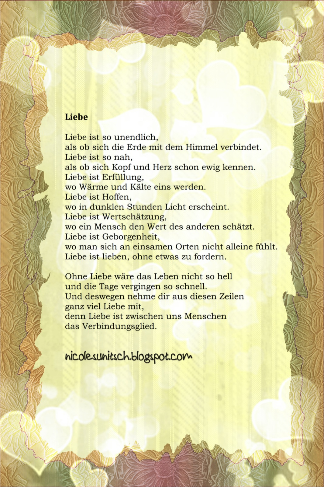 Gedichte Von Nicole Sunitsch Autorin Gedicht Liebe Aus Dem