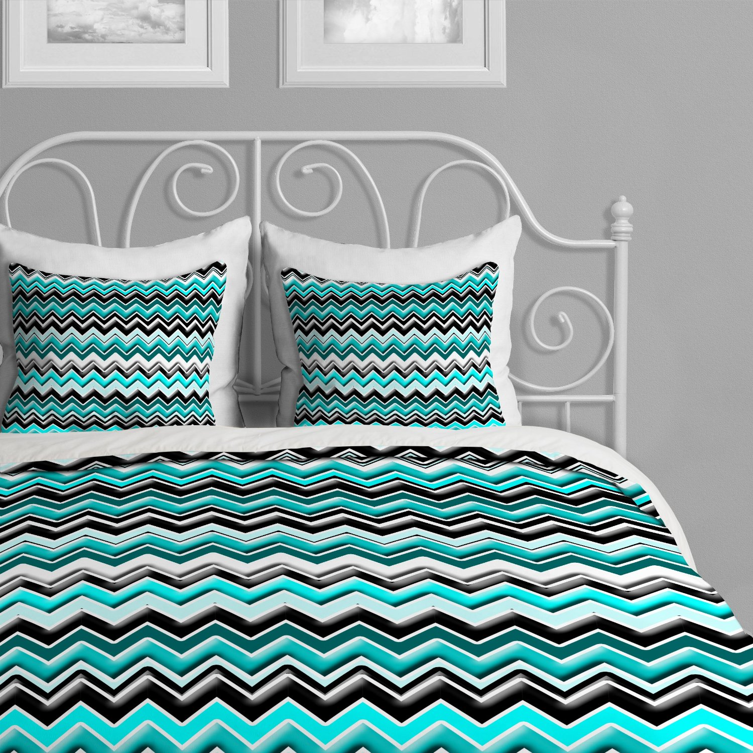 Modern Turquoise Black And White Bedding Sets: Keeping Busy Patterns In  Check