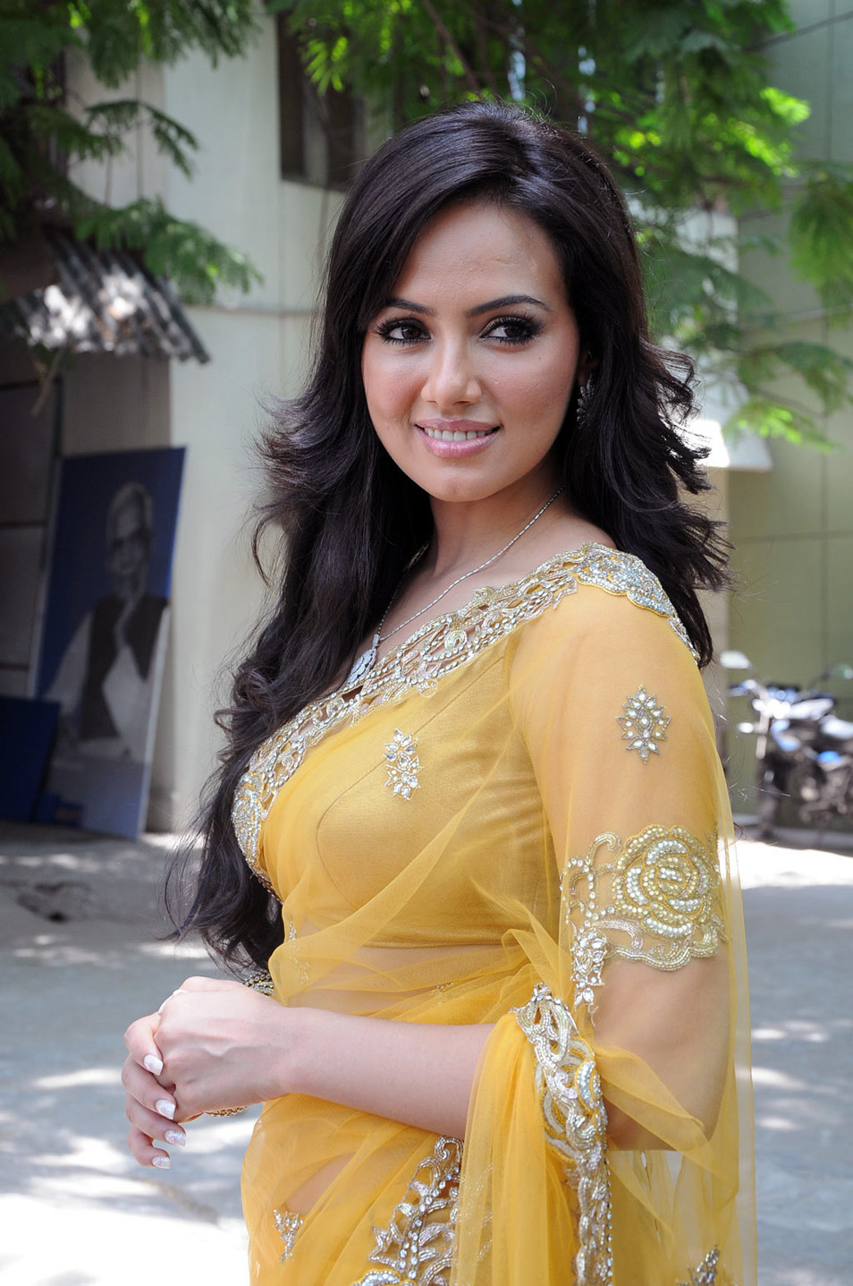 Spicy Saree: Sana Khan In Spicy Yellow Transparent Saree Blouse Lovely