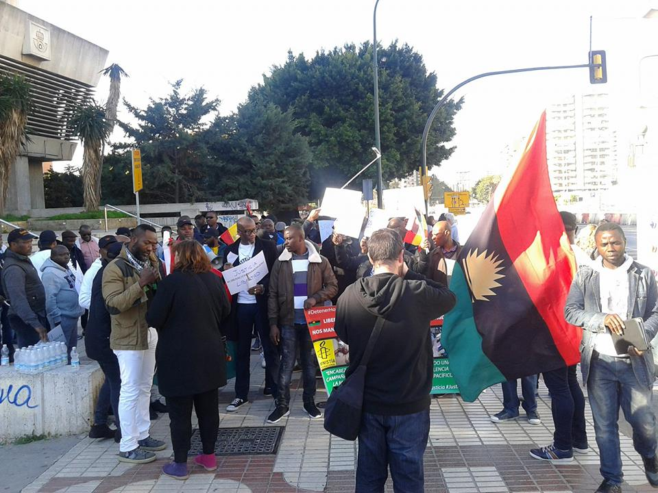 Biafra Supporters Protest In Spain Over Nnamdi Kanu's Unlawful Detentio