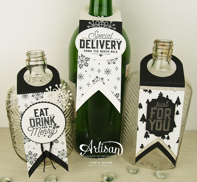 The Merry Little Labels stamp set combined with the Layering Circles dies by Stampin' Up! makes creating these wine bottle tags a snap! ~Tanya Boser for the 2017 Artisan Design Team