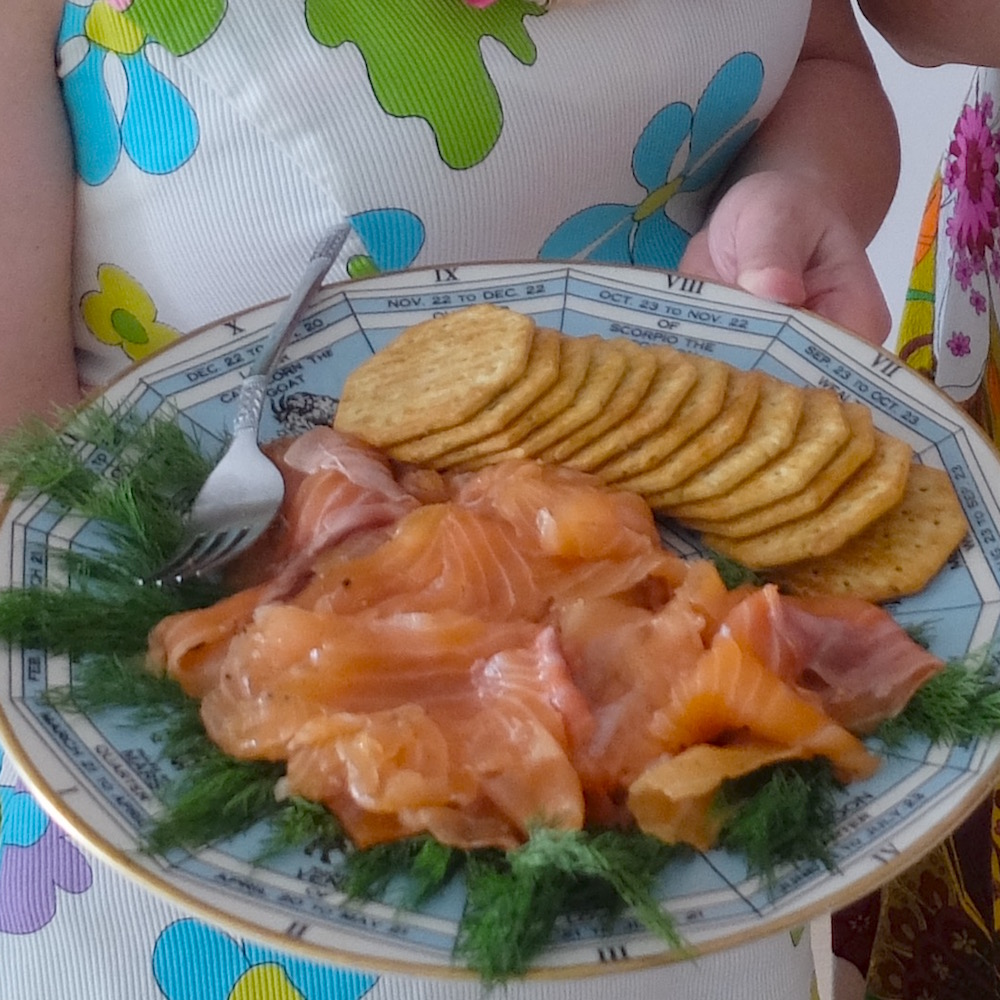 whisky-cured salmon with rosemary crackers