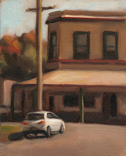 Oil painting of a white car parked near a double-story Victorian-era shop.
