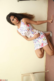 Nishi Ganda stunning cute in Flower Print short dress at Tick Tack Movie Press Meet March 2017 075.JPG