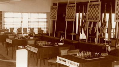 Sala de juego del I Torneo Internacional de Ajedrez Costa Brava 1973
