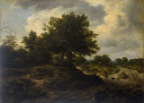 Landscape with a Traveller by Jacob Isaaksz van Ruisdael - Landscape Paintings from Hermitage Museum