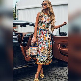 Αμάνικο μίντι χρωματιστό φόρεμα ISABEL