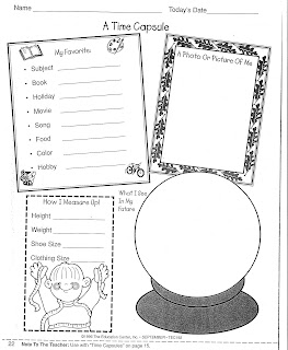 Classroom Corner: Time Capsule: New Year Students Activity