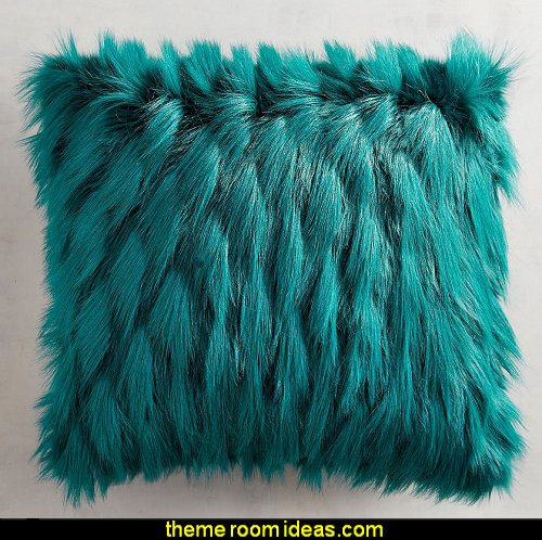 Teal Faux Fur Eyelash Pillow  Peacock theme decorating - peacock theme decor - exotic style decorating - Peacock Decorations - Peacock Nursery - peacock wall decoration - peacock Christmas decorating - peacock color decor - peacock wallpaper - peacock bedding - life size peacock decorations - Peacock feather  - Peacock living room