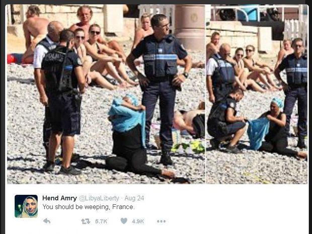 Biadab! Wanita Muslimah Dipaksa Lepas Jilbab di Pantai Perancis