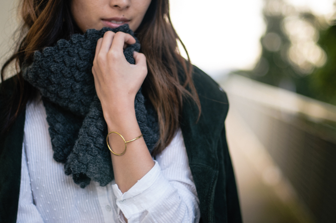 San Francisco Fashion Blogger wearing fall outfit in banana republic snood and topshop suede moto jacket