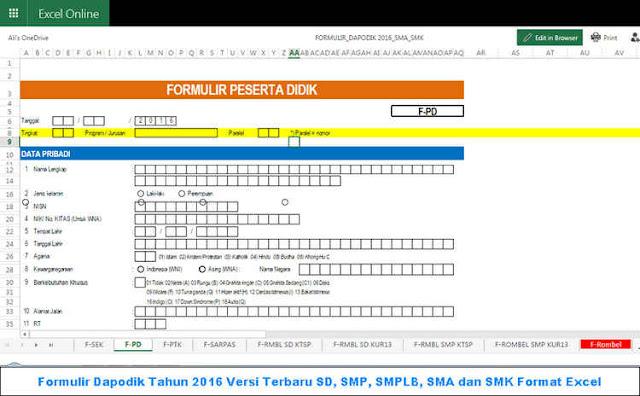 Formulir Dapodik Tahun 2016 Versi Terbaru SD, SMP, SMPLB, SMA dan SMK Format Excel