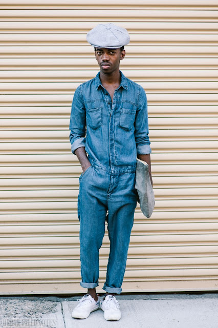 Look Masculino Negro macacão worker mecânico jeans azul