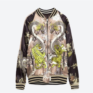 Zara bomber jacket in light pink and brown satin with oriental embroidery