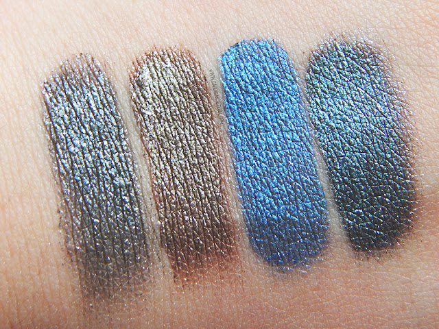 Urban Decay Moondust Palette wet swatches of Granite, Lithium, Vega, and Galaxy.