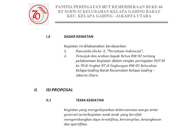 Proposal Kegiatan HUT RI ke 70 tahun 2015