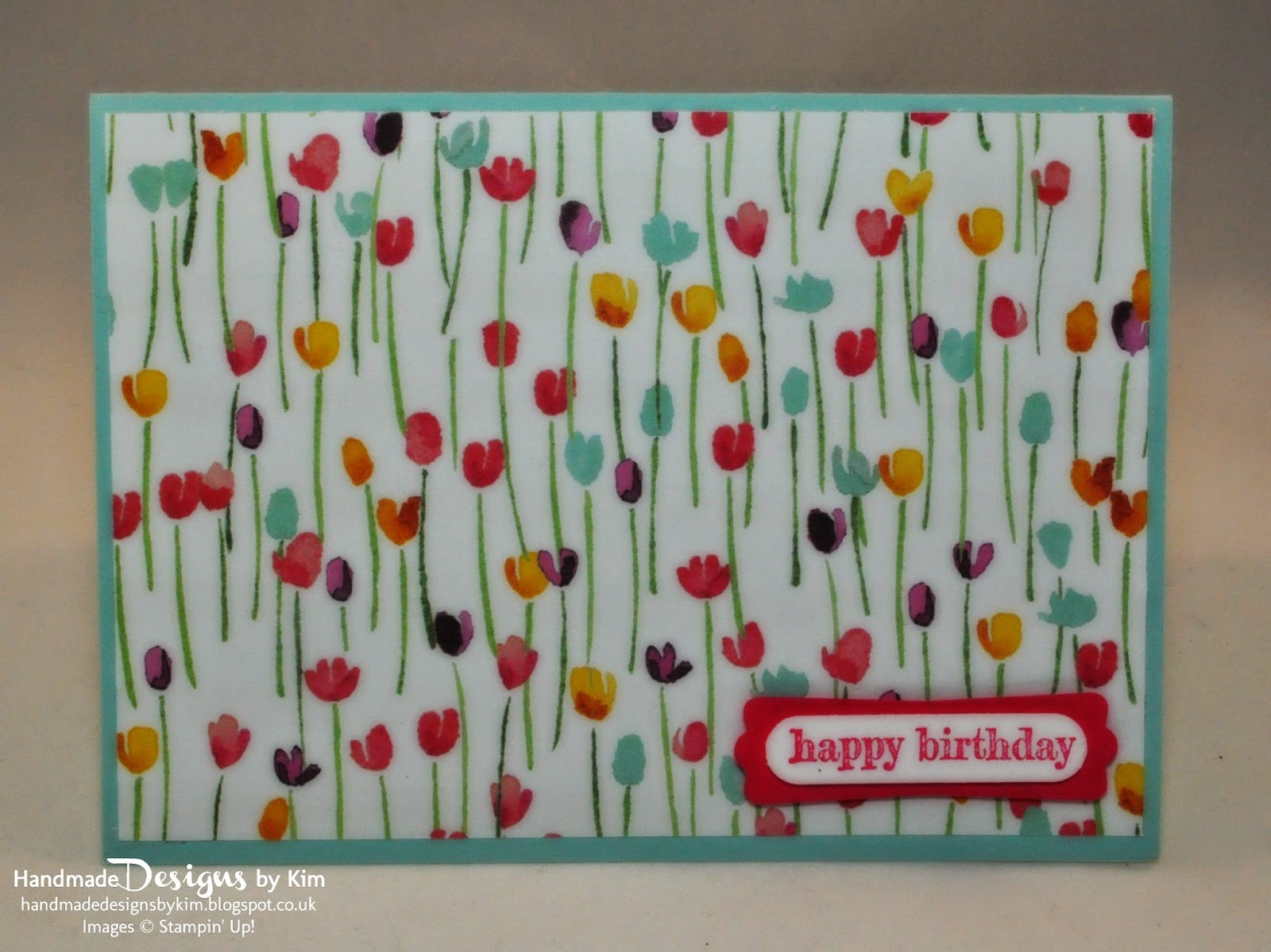 Birthday Card In Painted Blooms DSP Soft Sky