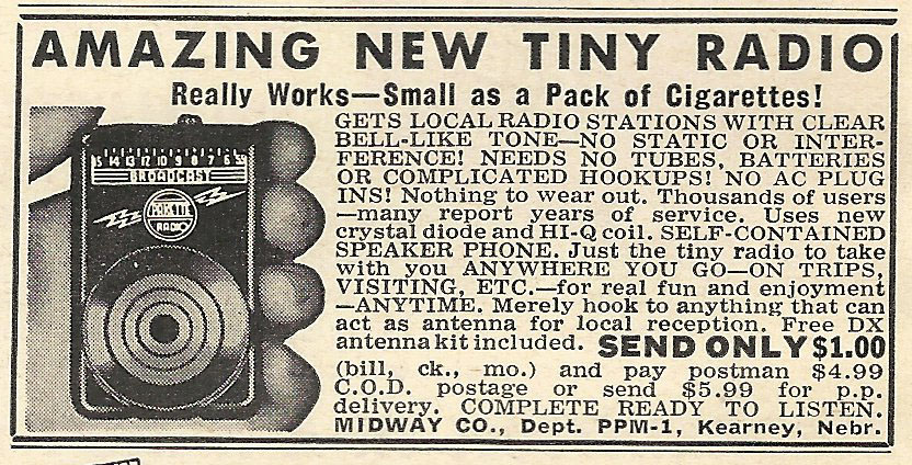 Old Ads Are Funny 1956 Ad Tiny Radio Small As A Pack