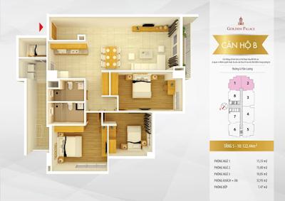 Mặt bằng thiết kế căn hộ số 1-2
