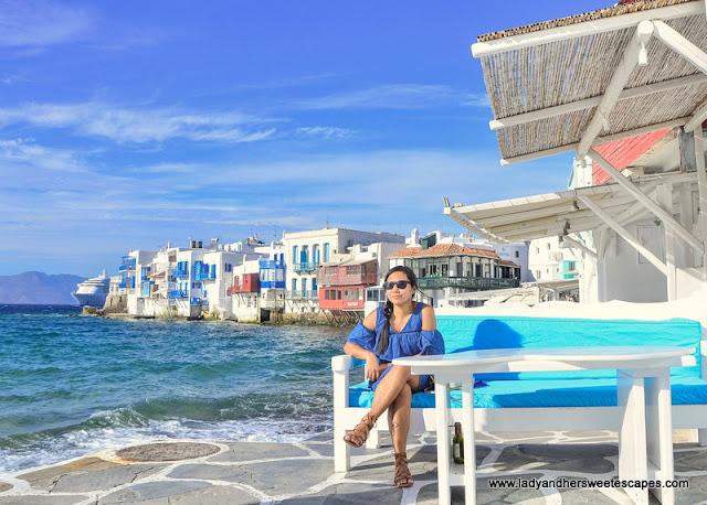 Lady in Little Venice Mykonos