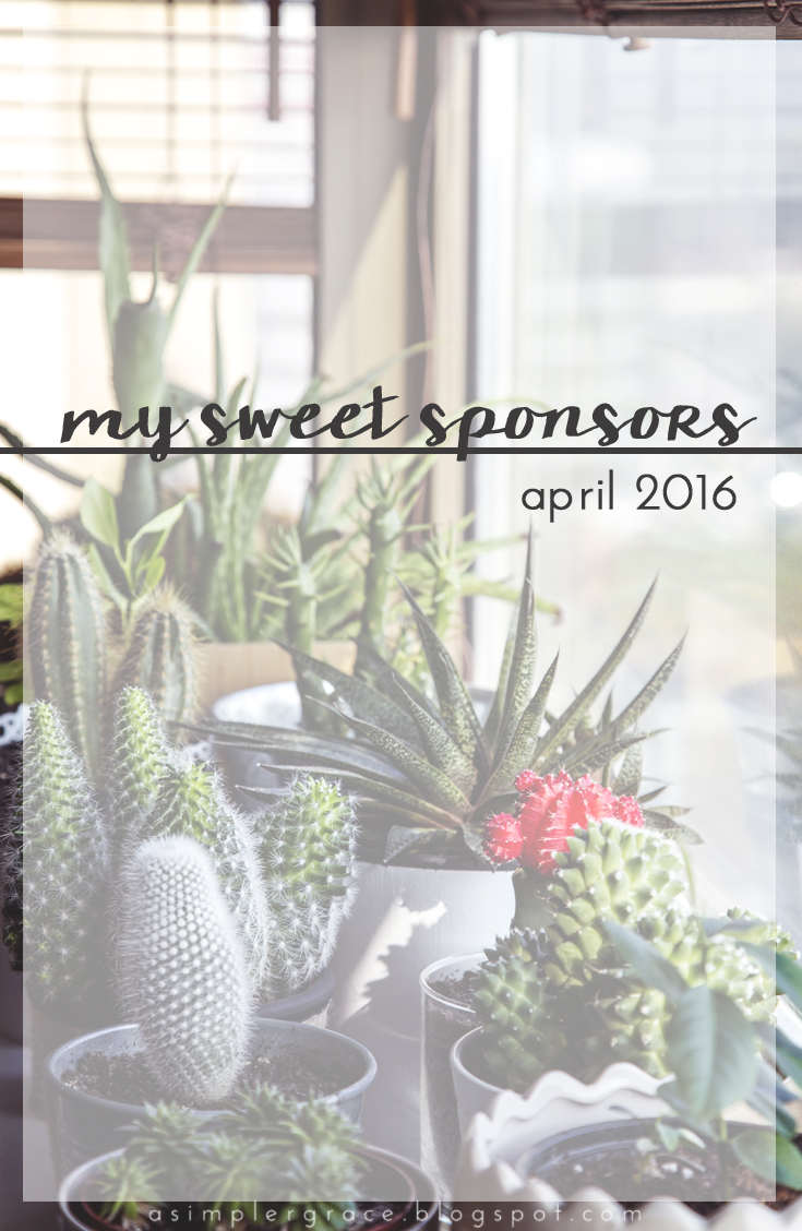 My Sweet Sponsors | April 2016 - A Simpler Grace - A closer look at the special people who kept ASG running this month.