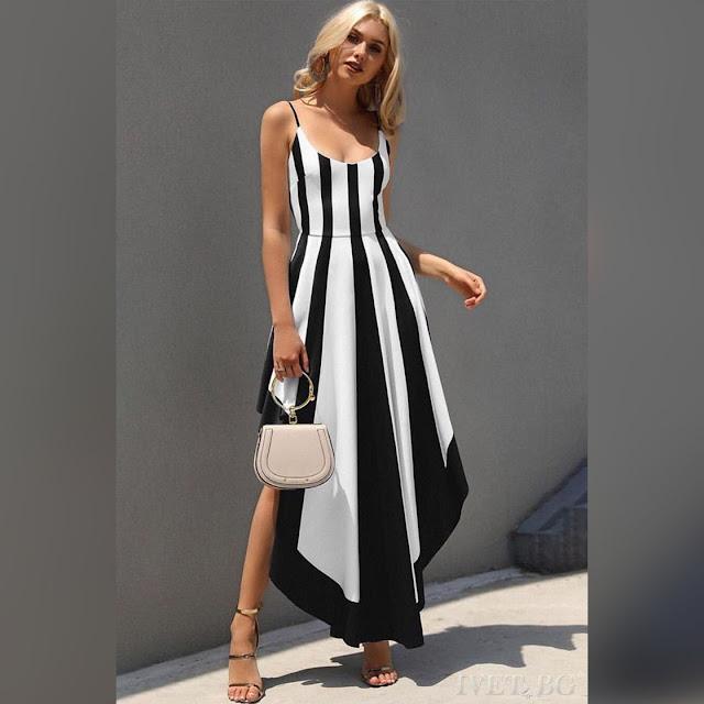 Μεσάτο ασύμμετρο άσπρο με μαύρο φόρεμα EMANUELA BLACK
