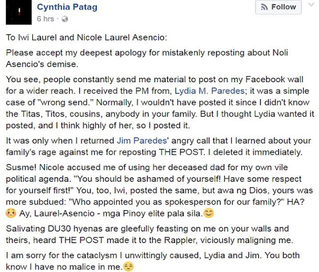 Cynthia Patag Issues An Apology For Making Public A Personal Message Mistakenly Sent To Her By Lydia Paredes