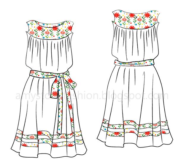 Amy Stone Fashion Flat Sketches: Smock Dress Flat Fashion Sketch ...