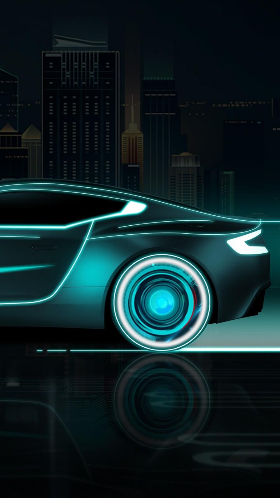 Papel de parede grátis Carro Neon Arte Digital para PC, Notebook, iPhone, Android e Tablet.