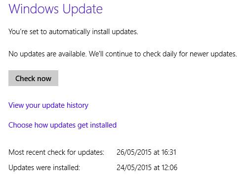 Klik Check Windows Update