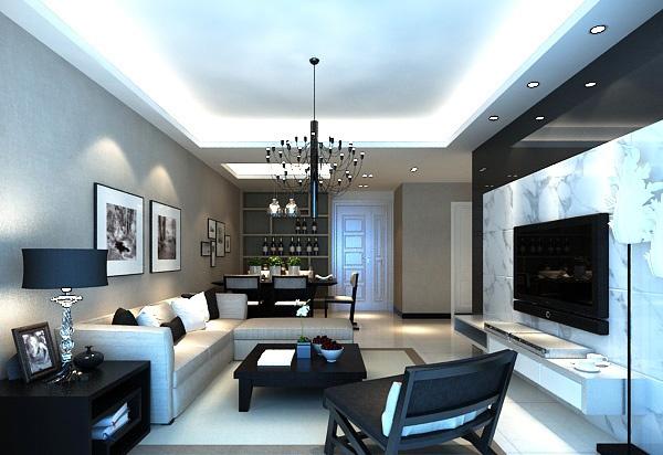 Stylish minimalist living room decoration model free 3d max