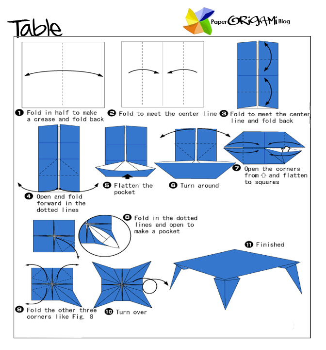 Furnitures Origami: A Table   Paper Origami Guide