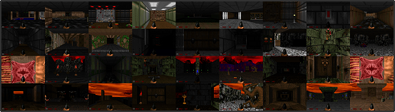 The very start of all 36 maps in The Ultimate DOOM running in DOOM Retro.