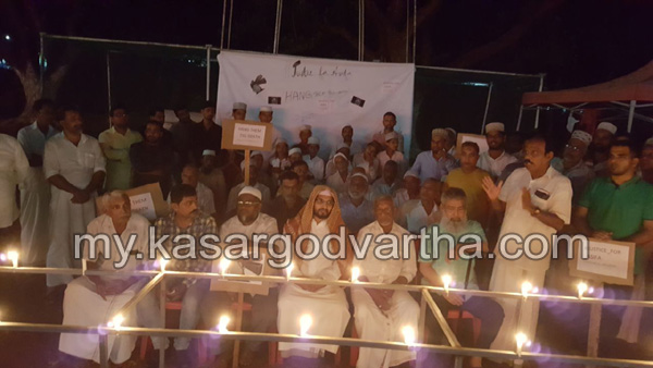 Kerala, News, Theruvath, Kashmir Child Murder, Solidarity, Candle Burned, Kasaragod, Burned the candlelight of the street in solidarity with Asifa