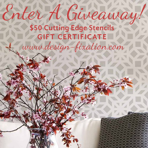 Enter a giveaway for a $50 gift certificate to Cutting Edge Stencils. Simply visit Design Fixation to enter: http://www.design-fixation.com/2016/07/giveaway-50-cutting-edge-stencils-gift.html