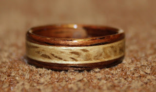 Rosewood Ring with inlays of Live Oak and Sugar Maple