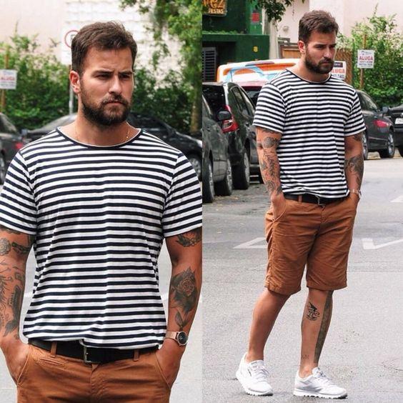 Look Masculino com Camiseta Listrada Para o Reveillon