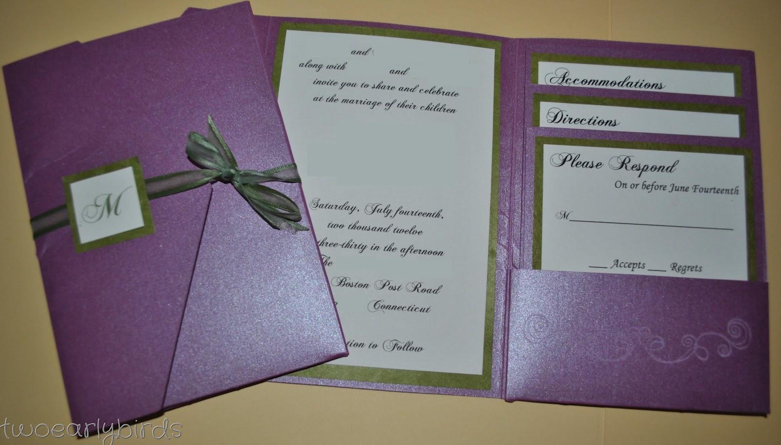 Fold Wedding Invitations: Two Early Birds: A Wedding Invitation