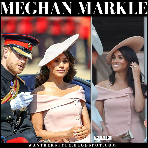 Meghan Markle in pink off shoulder button dress carolina herrera and pink hat philip treacy at Trooping The Colour royal fashion june 9
