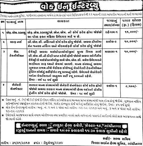 District Urban Health Unit Gandhinagar Recruitment 2017 for FHW, Staff Nurse, Lab Technicians & Sanitary Inspector Posts