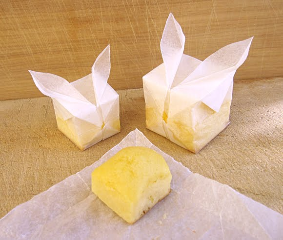 parchment paper bunny cube muffins