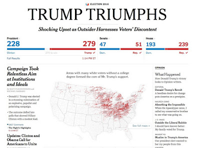 TRUMP TRIUMPHS- New York Times graphic Nov. 9, 2016