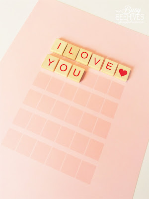 Valentine's Day Scrabble Art placement grid