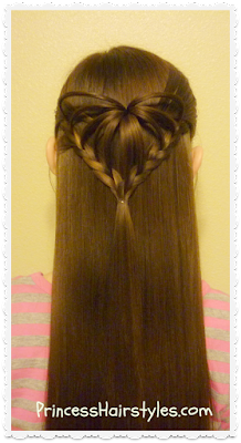Cute hairstyle for Valentines Day, the 3d heart