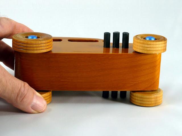 Bottom - Wooden Toy Car - Hot Rod Freaky Ford - 32 Sedan - Pine - Amber Shellac - Black Pipes - Metallic Blue Hubs