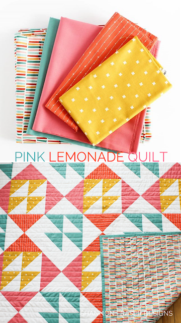 Pink Lemonade Quilt Pattern by Shannon Fraser Designs | Modern Quilting | Half Square Triangles