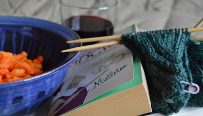 #yarnalong, reading, drinking wine, eating Cheetos and knititng