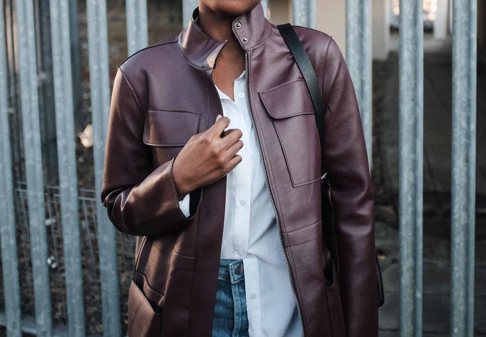 ASOS Oxblood Faux Leather Jacket with Utility Styling ASOS High Waisted Cropped Jeans